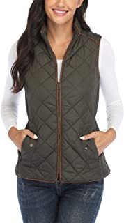 Dilgul Women Padded Vest Stand Collar Zip Up Puffer Lightweight Quilted Vest