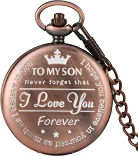 "Engraved Pocket Watch, Red Copper""to My Son I Love You Forever"" Pattern Quartz Full Hunter Pocket Watch with Chain Personalized Gift Steampunk Clock"