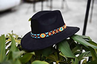 Sombrero de Gamuza artesanal L negro con arte naranja azul