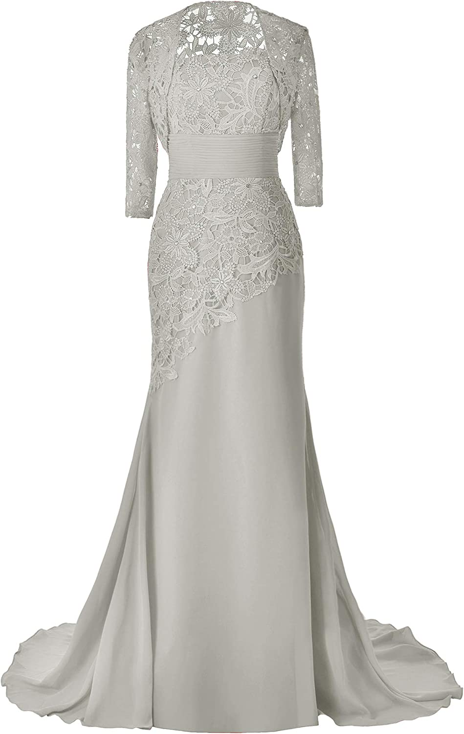 Pretygirl Women's Lace Long Mother of The Bride Dress with Jacket Formal Evening Gowns (US 14, Silver Grey)