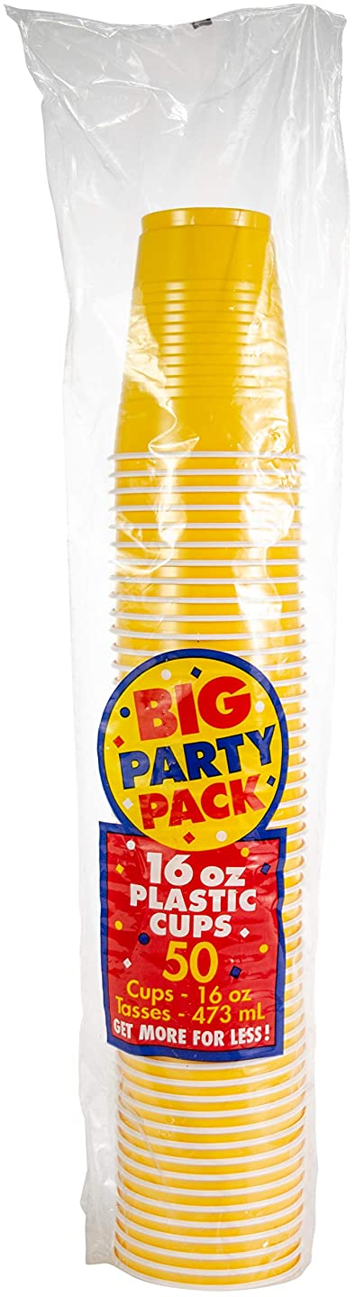 Big Party Pack Sunshine Yellow Plastic Cups   16 oz.   Pack of 50   Party Supply