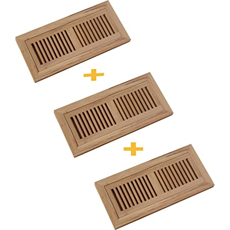 Welland 4x10 Inch Hickory Wood Flush Mount Floor Register Vent Unfinished 3 4 Thickness Heating Vents