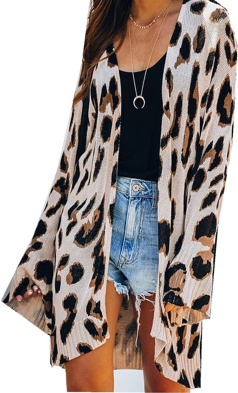 Leopard Cardigan for Women Crochet Cardigan Lightweight Open Front Hollow Out Leopard Size L