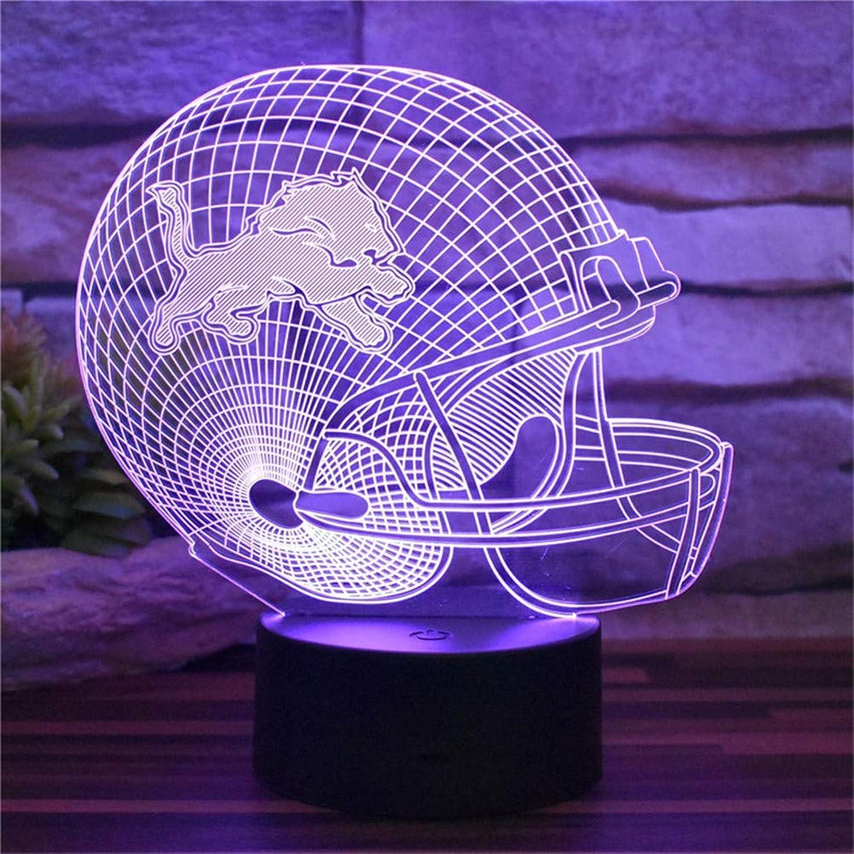 Umgebungslicht, New Detroit Lions American Football Cap USB 3D Illusion Schlafzimmer Nachtlicht Raumdekoration 16 Farbwechsel Acryl LED Fernbedienung Schreibtischlampe Dekoration Kinderspielzeug Urlau