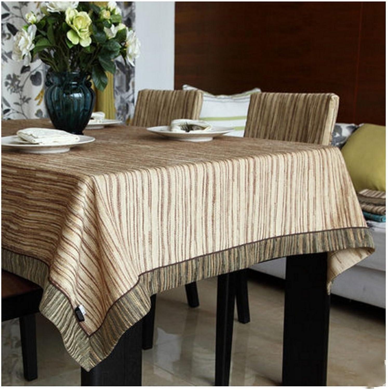 WOFULL Beige Dunkelgrün Striemen Kaffee Tischtuch Tisch Bubu Kunst Continental Chenille Tischdecke Quadrat Tischdecken (Gre   140  160)