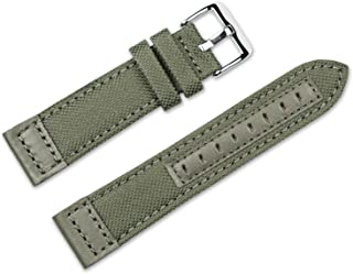 22mm Replacement Watch Band - Nylon Canvas with Leather Trim - Olive Watch Strap