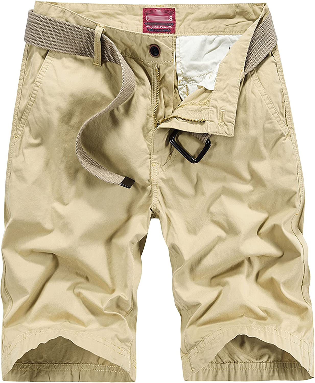 B dressy Men Summer Casual Loose Camouflage Cargo Shorts Multi-Pocket 100% Cotton Street Military Knee-Length Beach-Khaki02-38