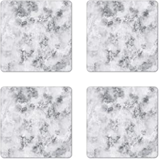 Ambesonne Marble Coaster Set of 4, Granite Surface Pattern with Stormy Details Natural Mineral Formation Print, Square Hardboard Gloss Coasters for Drinks, Standard Size, Grey Dust