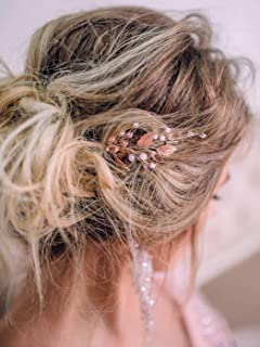 Jakawin Bride Wedding Leaf Hair Pins Rose Gold Hair Piece Bridal Hair Accessories for Women and Girls 2 PCS HP064