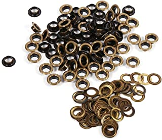 Yosoo 8mm Antique Brass Eyelet Grommets Kit with Washers for Leather, Canvas, Clothes, Shoes, Belts, Bags, DIY Crafts, 100sets