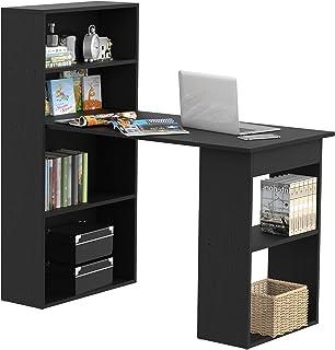 HOMCOM Bureau Informatique 120L x 55l x 120H cm bibliothèque adjacente Multi-rangements Noir