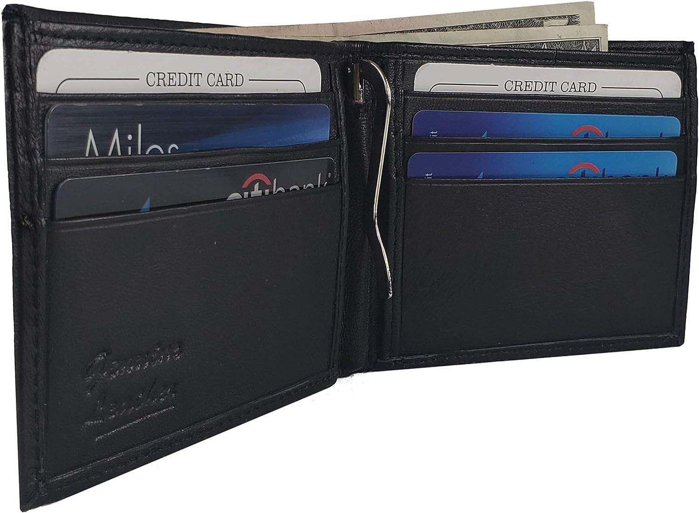 AG Wallets Leather Men's Bi fold Center Bill Money Clip Wallet (Black)