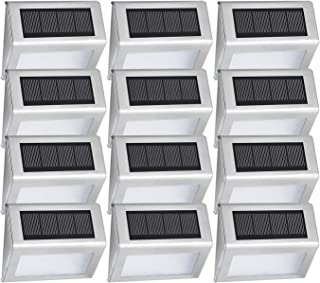 Solar Powered Deck Lights, EASTERNSTAR 4 LED Outdoor Stainless Steel Waterproof Step Lights Wireless White Lighting for Fence,Path, Patio, Stair-12 Pack