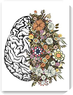 lovehouse21 Vintage Anatomy Flowers Heart Brain Wall Art Canvas Painting Retro Posters and Prints Wall Pictures Medical Doctor Clinic Decor,20X25 cm No Frame,Ph2231