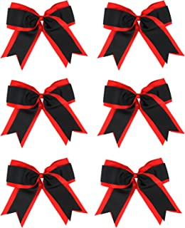 8 Inch 2 Colors 2 Layers 6 Pcs Jumbo Cheerleader Bows Ponytail Holder Cheerleading Bows Hair Elastic Hair Tie for High School College Cheerleading (Red/Black)