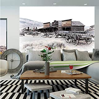SoSung Western Decor Huge Photo Wall Mural,Old Wooden Wagons from 20s in Ghost Town Antique Wyoming Wheels Art Print,Self-Adhesive Large Wallpaper for Home Decor 100x144 inches,Brown White