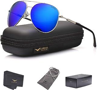 LUENX Mens Aviator Sunglasses Polarized Women Shades with Case : UV 400 Protection