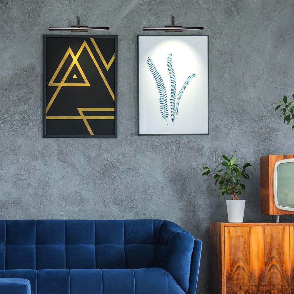 L/ámpara para cuadros Aplique pared vintage Aplique de pared para cuadros con doble bombilla MiniSun Iluminaci/ón interior Cromo negro