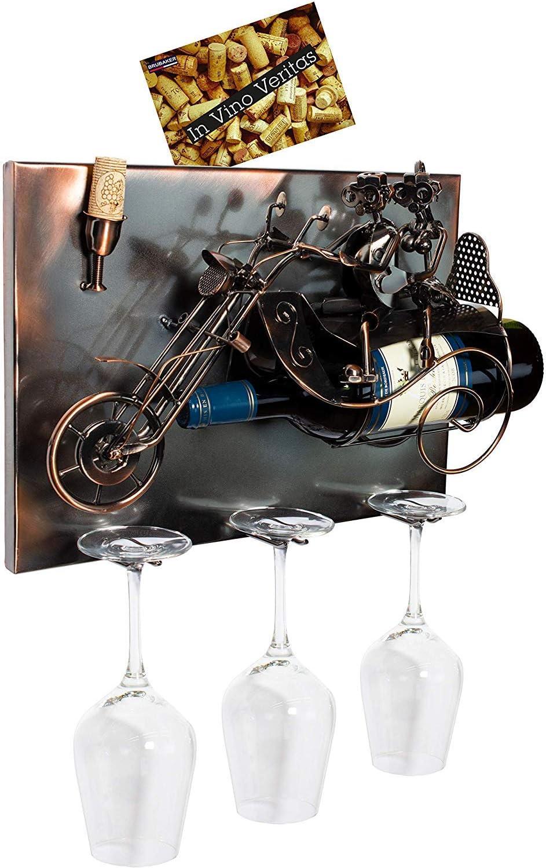 BRUBAKER 高級な Wine Bottle Holder 'Couple - Motorbike' Wall 期間限定今なら送料無料 on Mountab