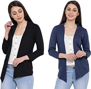 IN Love Women's/Girls Cotton Blend Casual Full Sleeves Waterfall Shrugs for Summer Combo(Small-3XLarge)(Assorted)(2CWSG-6100)