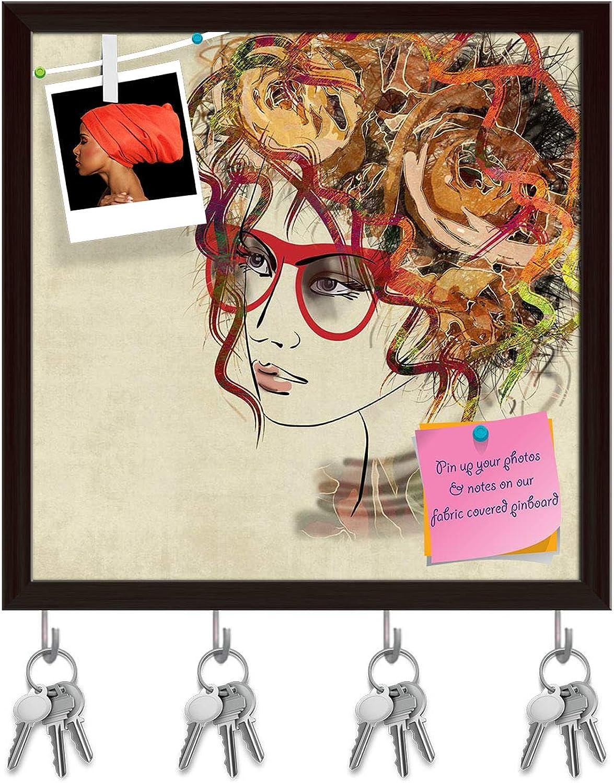 Artzfolio Beautiful Girl Face D8 Key Holder Hooks   Notice Pin Board   Dark Brown Frame 20 X 20Inch