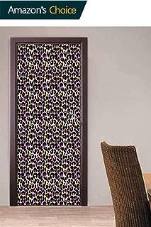 Set of 2 Removable 3D False Door Wallpaper Vinyl 3D, Wild Exotic Animal Door Stickers Art Decor Stickers Murals for Bedroom Living Room, 30.3W x 78.7H Inches