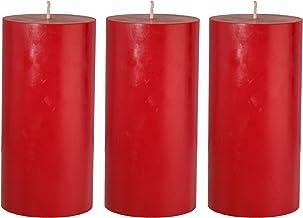 شموع عمود حمراء اللون مقاس 3 × 6 من كاندل إن سينت تُسكب يدويًا بدون رائحة (عبوة من 3 قطع)