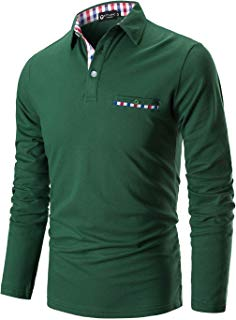 STTLZMC Polo Shirts for Men Long Sleeve Casual Fit Plaid Collar T-Shirts