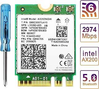 بطاقة واي فاي 6 AX200 من زيكسمت، بطاقة شبكة انتل اللاسلكية، 802.11 إكس ثنائي النطاق 5 جيجاهرتز/2.4 جيجا هرتز واي فاي 6 لأج...