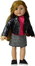 The New York Doll Collection Leather Jacket with Dress - Pink Top and Houndstooth Printed Bottom