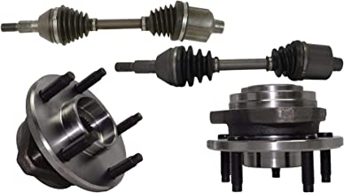 Detroit Axle - Both (2) Front Driver Left and Passenger Right CV Axle Drive Shafts + (2) Front Wheel Hub & Bearings w/o ABS for 2004-2007 Chevy Malibu - [2007-2009 Saturn Aura] - 2005-2010 Pontiac G6