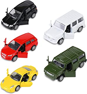 KIDAMI Die Cast Metal Toy Cars Set of 5, Openable Doors Pull Back Car Gift Pack for Kids (Private car)