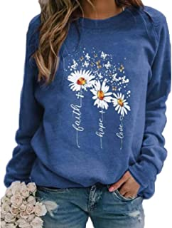 Fashion Long Sleeve Round Neck Casual Sweatshirts, Baggy Print Blouse, Autumn Winter Cute Pullover Tops for Everyday, Outd...