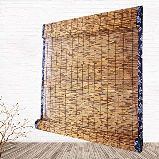 Bamboo Roller Blinds,Made of Natural Reed,Retro Rain-Resistant Moisture-Proof Decorative Blinds,for Window Door