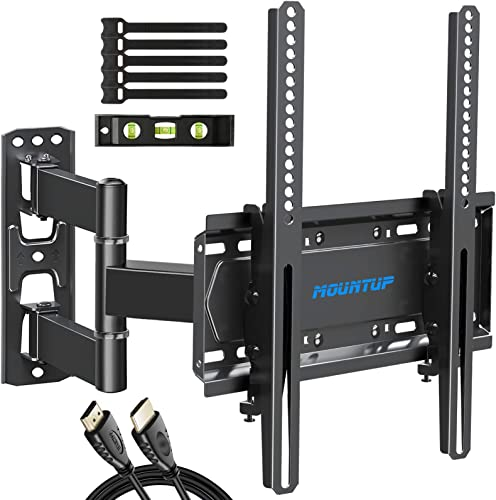 MOUNTUP TV Wall Mount Single Stud TV Mount Swivel and Tilt Full Motion for 26-55 Inch Flat Screen/Curved TVs Universal Articulating Wall Mount TV Bracket with Max VESA 400x400mm Holds up to 60lbs