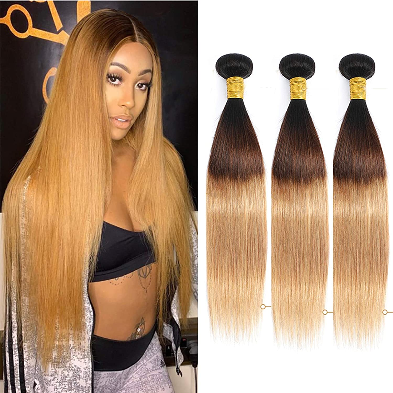 Max 90% OFF Ombre Brazilian online shop Straight Hair 3 Bundles Tone Two T1B 27 300g Bra