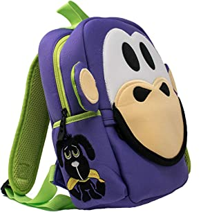 Nay Nay Toddler Mini Backpack, Washable Kids Bag with Removable Name Tag for Preschool, Daycare, Boys & Girls by Animal Packers, Purple