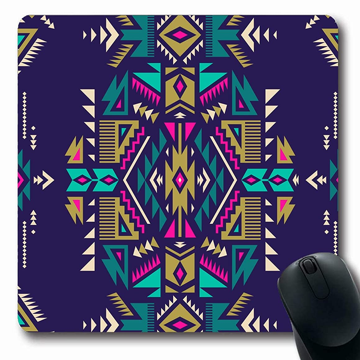 Ahawoso Mousepads Orange Jacquard Dark Color Tribal Navajo Abstract Cultural African Pink Mexican Peru American Arabic Oblong Shape 7.9 x 9.5 Inches Non-Slip Gaming Mouse Pad Rubber Oblong Mat
