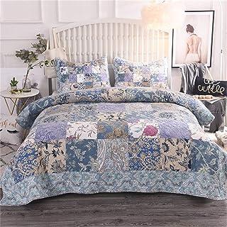 Luz azul de estilo nórdico colchas king size 230x250cm algodón patchwork acolchado camas combinados patrón floral suave cómodo con 2 pillowcasas