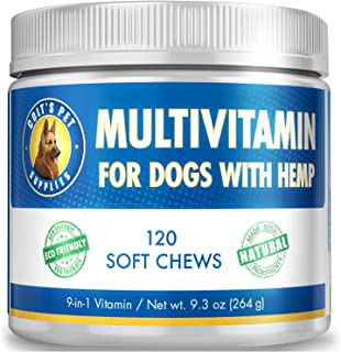 Sponsored Ad - 120 Dog Multivitamin 9 in 1 Natural Bacon Flavor, No Grain Dog Vitamins Made in USA for Joint Support, Skin...