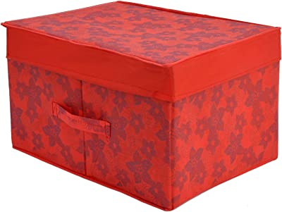 Kuber Industries Metallic Print Non Woven Fabric Foldable Saree Cover Foldable Large Size Cloth Storage Box Toy, Books Wardrobe Organiser Box with Lid, Extra Large (Red)