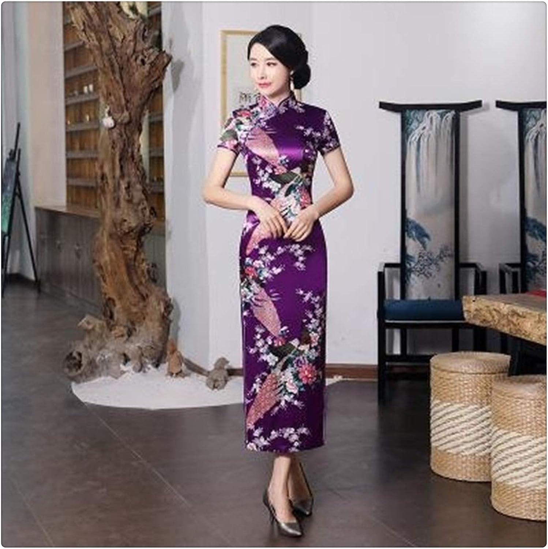 XIAOXINGXING Chinese Women Cheongsam Lady Qipao Black Print Flow
