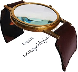 Unique Antique Bass Desk Magnifying Watch Style Adjustable Glass Leather Stand