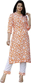 TPC Women's Rayon Orange Printed Kurta with Palazzo/Pant Set