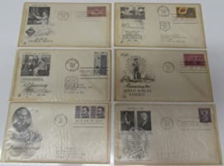 First Day of Issue Bundled of 6 Stamps & Envelope Covers 1952 Honoring NATO, 1967 Francis Parkman, Workmen's Compensation, 1951 Chemical Society, 1955 Armed Forces Reserve, 1961 Kansas Statehood