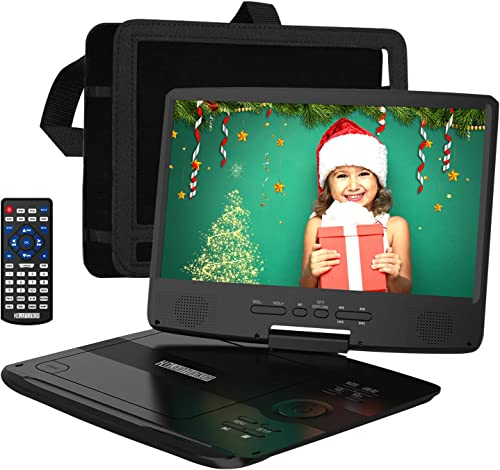 "HDJUNTUNKOR Portable DVD Player 12.5"" with 10.1"" HD Swivel Display Screen, 5 Hour Rechargeable Battery, Support CD/DV..."