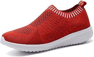 TIOSEBON Chaussure L/éger Maille D/éconract/ée Femme Chaussure de Marche Respirant Slip on Confortable Sneakers
