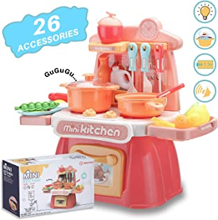 wodtoizi Kids Kitchen Playset Cooking Toys Set w Realistic Sounds and Lights Mini Chefs Pretend Play Dessert Food Assortment Set Party Role Play Toy Educational Birthday Boys Girls Children