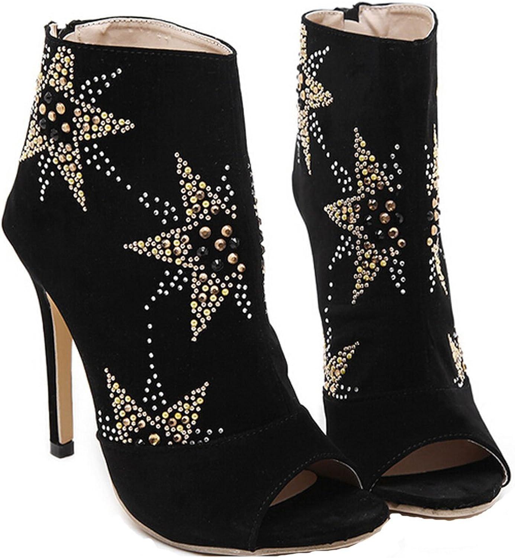 San hojas Sandals of Suede Peep Toe High Heel Black