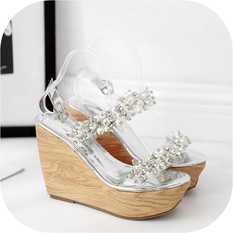 Sandals Summer Wedge Women's shoes Transparent high-Heeled Platform,